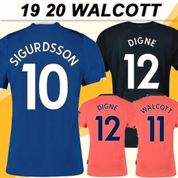 Pantaloncini da calcio everton online-19 20 Everton Walcott Mens maglie calcio SIGURDSSON RICHARLISON casa Blu camice assenti Arancione 3 Calcio Uniformi manica corta DIGNE