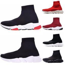 2019 sapatos de couro beckham Balenciaga soock speed trainer Treinador Speed Trainer Botas casuais preto branco azul Moda Plana Meias Botas homens mulheres sapatilhas de luxo Botas de Corrida de Formadores de Luxo tamanho 36-45