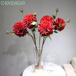 flores de dalia roja Rebajas INDIGO-Nuevos llegada 5pcs - Dahlia margarita grande Crisantemo rojo decorativo del hogar del banquete de boda de la flor artificial de envío