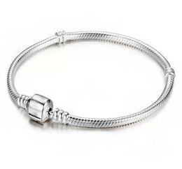 Venta al por mayor de fábrica 925 pulseras de plata esterlina 3 mm cadena de la serpiente Fit Pandora Charm Bead Bangle Bracelet regalo de la joyería para hombres mujeres desde fabricantes
