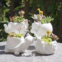 piccoli vasi da giardino Sconti Trasporto all'ingrosso-libero Piccolo vaso da fiori in ceramica animale super porcellana bianca elefante lumaca tartaruga giardino Mini Pot Vaso da tavolo in ceramica