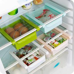Cajas congeladoras online-Cocina Nevera Congelador Rack de almacenamiento Organizador de espacio Saver Holder Estante Cajón extraíble Organizador de espacio Caja de ahorro de almacenamiento Herservidores