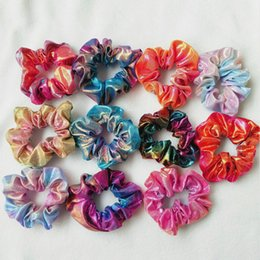 dancing hair Coupons - Popular Lady girl Hair Scrunchy Ring Magic color Laser Cloth Elastic HairBands Large intestine Sports Dance Scrunchie Soft Headband
