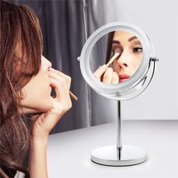 2019 miroirs latéraux 7 pouces LED lumières maquillage miroir de bureau double miroir côté bouton 5X ou 10X grossissement nouveau style salle de bains miroir cosmétique miroirs latéraux pas cher