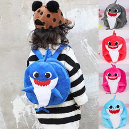 Zaini Bambino Shark Kids 24 * 22 * 7CM Zaino Scuola SHARKS Cartone animato bambino borsetta Peluche Asilo Bambini Peluche Mochilas Canvas bookbags da