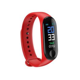 Pulso monitor de ritmo cardiaco iphone online-Venda M3 Pulsera inteligente Monitor de presión arterial de pulso cardíaco Pulsera Fitness Reloj OLED rastreador para iPhone Xiaomi Huawei PK Mi Band 3