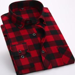 befac2ac8de Красные и черные клетчатые фланелевые мужские рубашки с длинным рукавом  Social Masculino Марка Осень Пуговица Шахматная