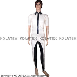 2a5ecd5ca7558e White With Black Sexy Latex Shirt Zipper At Front And Pants Fetish Rubber  Clothings Plus Size YF-0030 discount latex shirt sexy