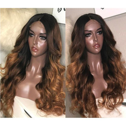 body wavy brazilian glueless lace wig Promo Codes - Full Lace Human Hair Wigs Ombre Two Tone 1B 30 Wavy Brazilian Virgin Hair 150 Density Natural Hairline Glueless Bleached Knots