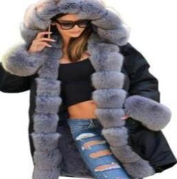 mujer parka camuflaje Rebajas Larga de las mujeres chaquetas de invierno caliente grueso cuello de la piel diseñador abrigos Ejército de camuflaje militar de Down Escudo Parkas