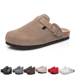 2019 sandali di sughero marrone Summer Cover Toe Sandals Uomo Donna Coppia sandali piatti Cork Slippers Casual Beach shoes Nero Marrone Beige colori taglia 36-44 sandali di sughero marrone economici