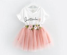Vestidos de vestidos de festa on-line-Tutu bebê vestido de moda meninas 2 pcs flor saia elegante vestidos de festa de casamento vestidos para meninas crianças frock roupa infantil criança vestuário