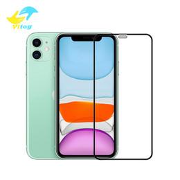 tela de carbono do iphone Desconto Vitog 10D cobertura completa protetor de tela de fibra de carbono de vidro temperado 9H para iPhone 11 pro max x xs xr 8 7 protetor de tela