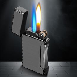 2019 regali impronta digitale 2 in 1 accendisigari Torch Lighter tasca 1 getto di gas del butano del sigaro antivento in metallo leggero per la cucina Blue Flame JX36