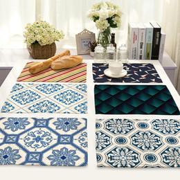 impresión de manteles individuales Rebajas CAMMITEVER Alfombrillas de mesa estampadas geométricas moradas Acuarelas manteles individuales