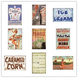 crème caramel Promotion London Ice Cream Peaches Produire Caramel De Maïs Barbecue Vintage Décor À La Maison En Métal Signes En Étain Hôtel Musique Bar Café Restaurant Mur Salle De Bains