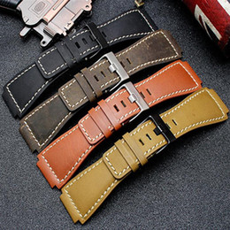 33 * 24mm Convex End Italienisches Kalbsleder Uhrenarmband Für Glocke Serie BR01 BR03 Armband Armband Gürtel Ross Rubber Man von Fabrikanten