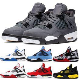 Deporte 89 online-Nike Air Jordon Retro 2019 Cool Grey 4 4s Zapatillas para hombre Bred Cactus Jack Green Grow Military Blue Alternate 89 Zapatillas de deporte para hombre Sneakes 7-13