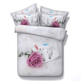 Argentina Flor 3d rosa roja Caballo blanco fundas de almohada edredón completo / reina / rey / súper rey tamaño floral juego de cama conjunto de almohadas parejas cheap red white duvet Suministro