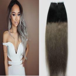 balayage des extensions de cheveux ombre Promotion Extensions de cheveux de bande de trame de peau 100g 40pcs / lot Cheveux humains Real Remy Hair Balayage Ombre Extensions de ruban de couleur gris