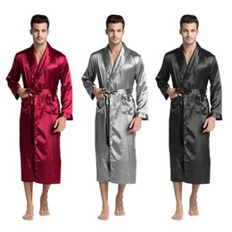 cc147dbd2a Tony Candice Men s Silk Satin Bathrobe Robe Long Solid Silk Pajamas Men  Silk Nightgown Sleepwear kimono homme Dressing Gown C18122801