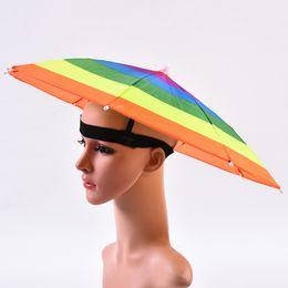 2019 cuchillos de apoyo Fabricantes al aire libre cabeza arco iris de la sandía luz pesca soleado paraguas sombrero de desgaste paraguas elástica