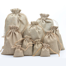 Sacos de Cordão de Juta natural Elegante Hessian Serapilheira Favor Do Casamento Titular Do Presente Saco Bolsa Para Doces De Feijão De Café de