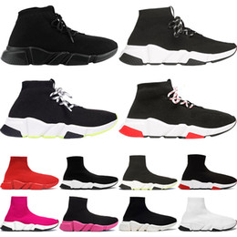 men trainers canvas Coupons - 2020 TOP Quality Speed Trainer Black White Designer Sneakers Men Women Black Red Casual Shoes Fashion Socks Sneakers Cheap Boots 36-45
