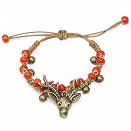 jóias da floresta Desconto Menina Criança Caminhada Floresta Handmade pulseira China Talão De Cerâmica Do Vintage Bronze Elk Deer Pingente Weave Corda Pulseira Mulheres Jóias Étnica quente