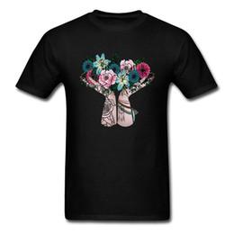 2019 chemises bohème hommes Remise Hommes T-shirts Bouquet De Bohème T-shirts Imprimé Tops Shirt Coton Fleur Imprimé Femme Vêtements Noir Drop Shipping chemises bohème hommes pas cher