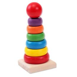 2019 детские игрушки для детей Дети Детские Радуга башня игрушка деревянная укладка игрушка ребенок номер цвета познание ранние развивающие игрушки OPP Packag LA369 DHL бесплатно дешево детские игрушки для детей