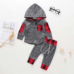 Niños pequeños sudaderas online-Baby Boys Grey Heather Hoodies + Pants Set Otoño 2018 Ropa para niños Boutique Infant Toddlers Boys Contrast Casual Sudaderas trajes