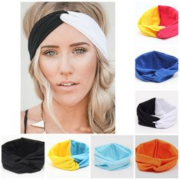 Accesorios para el cabello deportes niñas online-Hot Girls Stretch Twist Diadema Patchwork Color Hairbands Deporte Yoga Head Wrap Bandana Headwear Accesorios Para el Cabello Partyware T2C5175