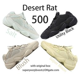 Zapatillas adidas online-Nuevas Adidas yeezy 500 zapatillas de sal para hombre Womens Desert Rat 500 Utility Black Blush F36640 DB2908 EE7287 Botas de diseñador Kanye West con estuche original