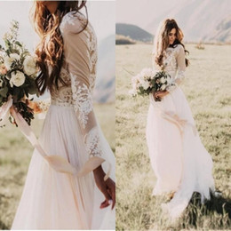 simple beautiful shirt Coupons - Beautiful Bohemian Country Wedding Dresses With Sheer Long Sleeves Bateau Neck A Line Lace Applique Chiffon Boho Bridal Gowns Cheap BA6589