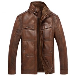 Chaqueta de bombardero de piel sintética más tamaño online-Fleece Warm PU Leather Bomber Jacket Color sólido Motocicleta Faux Leather Plus Size Prendas de abrigo Moda Marca Abrigos Hot Sale Cloth