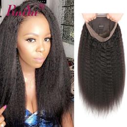 2019 полный парики волос yaki remy Full Lace человеческих волос парики Kinky прямые парики фронта шнурка для чернокожих женщин итальянский яки парик шнурка с волосами младенца Ruiyu Remy парик дешево полный парики волос yaki remy