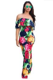 vestido maxi floral barato Desconto Barato Verão Maxi Floral Impresso Vestidos de Mulheres Vestidos Longos 2019 Fora do Ombro Vestidos de Praia Bainha Bodycon Piso Comprimento Feriado FS1179