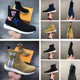 Hohe spitzenlaufschuhe der frauen online-Mit Box 2019 New Paris Speed Trainer Knit Sock Schuh Original Luxus Designer Herren Damen Sneakers High Top Kinder Casual Laufschuhe