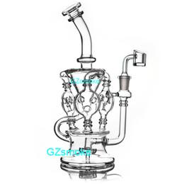 Gomma olio online-Heady recycler bong dab rig dabber bong quarzo banger pneumatico percolator oil rigs cera feb egg narghilè