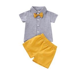 Ведущие колеса онлайн-MUQGEW 2018 Hot Sale Toddler Kids Baby Boys  Shirt Bow Tops Solid Shorts Pants Outfits Set Dropshipping Baby Clothes