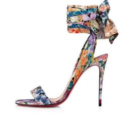 Sandalias zapatillas stiletto online-High Quality Genuine leather Summer Lidies stiletto heel sandals lace-up Ribbon print sandals women Comfortable outdoor slippers