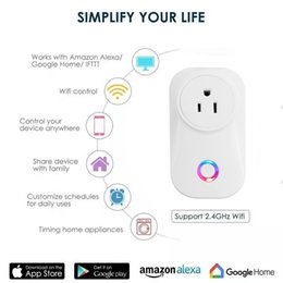 2019 conecta soquetes 10A plugue wi-fi inteligente com monitoramento de energia energyy, casa wi-fi adaptador de tomada de controle remoto, o trabalho com dispositivo de controle de voz conecta soquetes barato