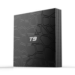 Коробка TV Андроида Т9 2019 новые прибытия 4 ГБ, 32 ГБ, Android 8.1 ТВ коробка с Bluetooth 4.1 беспроводной потоковой передачи 3D-фильмов видео RK3328 четырехъядерных процессоров медиа-плеер от Поставщики андроид фильм поле