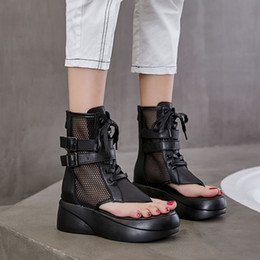 Botas de peep toe plataforma preta on-line-Dropshipping Woman Platform Hollow Out Summer Boots Women Vintage Chunky Sandals mujer Sexy Peep Toe Black Mesh Punk Shoes