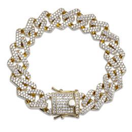 Микро-качество онлайн-Высокое качество хип-хоп браслет полный бриллиант ногтей кулон браслет микро кубический цирконий медный кулон комплект алмаз майами кубинский
