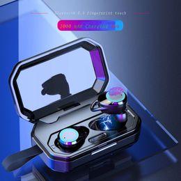 Trasduttore auricolare del bluetooth hd online-Smart Bluetooth 5.0 impronta digitale tocco auricolare stereo binaurale suono surround impermeabile denoise automatico coppia di cuffie di chiamata HD di potenza mobile