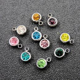 adesivo de abóbada por atacado Desconto DIY colar pulseira jóias descobertas Birth Stones aço inoxidável pequenos encantos