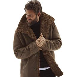 2019 chaqueta de cuero de imitación marrón para hombre Chaqueta para hombre del invierno de los hombres de la vendimia chaquetas de cuero de imitación del abrigo de pieles Chaqueta de cuero Bombardero Brown Botón de la motocicleta piel de oveja chaqueta de cuero de imitación marrón para hombre baratos