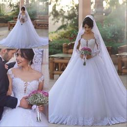 2019 jóia mais vestidos de noiva tamanho 2017 Árabe Dubai Lace Ball Gown Vestido De Noiva Plus Size manga Comprida Sheer Jewel Neck ilusão Lantejoula Tiered Tulle branco vestidos de novia desconto jóia mais vestidos de noiva tamanho
